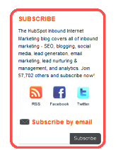 sample email and social subscription sidebar for a website or blog