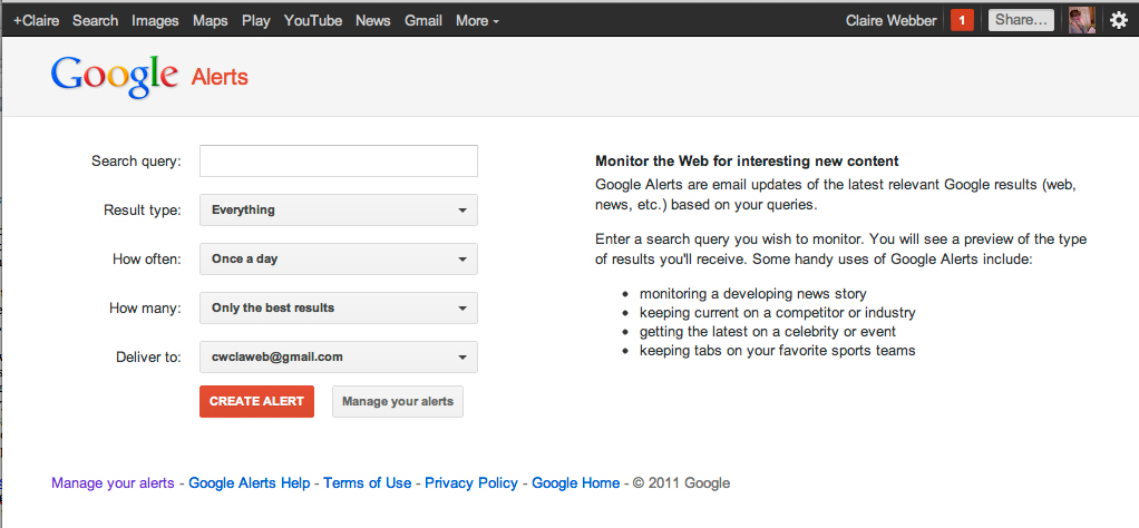 Using Google alerts: a how-to tutorial for Instant Access to Security and Content