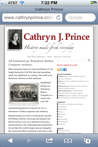 Cathryn Prince's website accessed using Safari on an iPhone