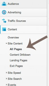 How to get to the metrics on your most popular pages in Google Analytics