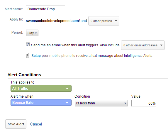Intelligent Events for Google Analytics - creating a custom alert