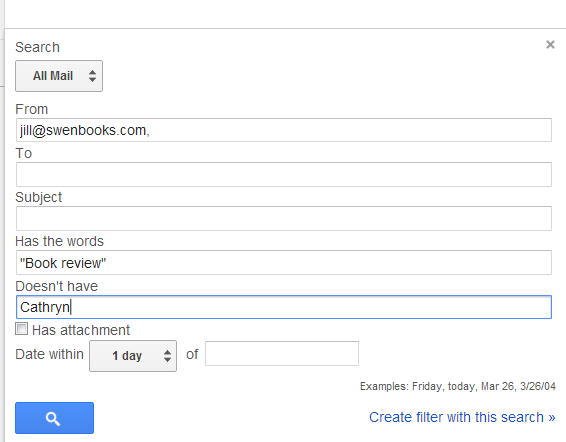 search gmail for messages with one phrase and not another