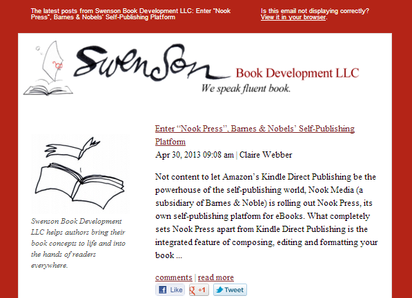 The RSS email update for Swenson Book Development, LLC